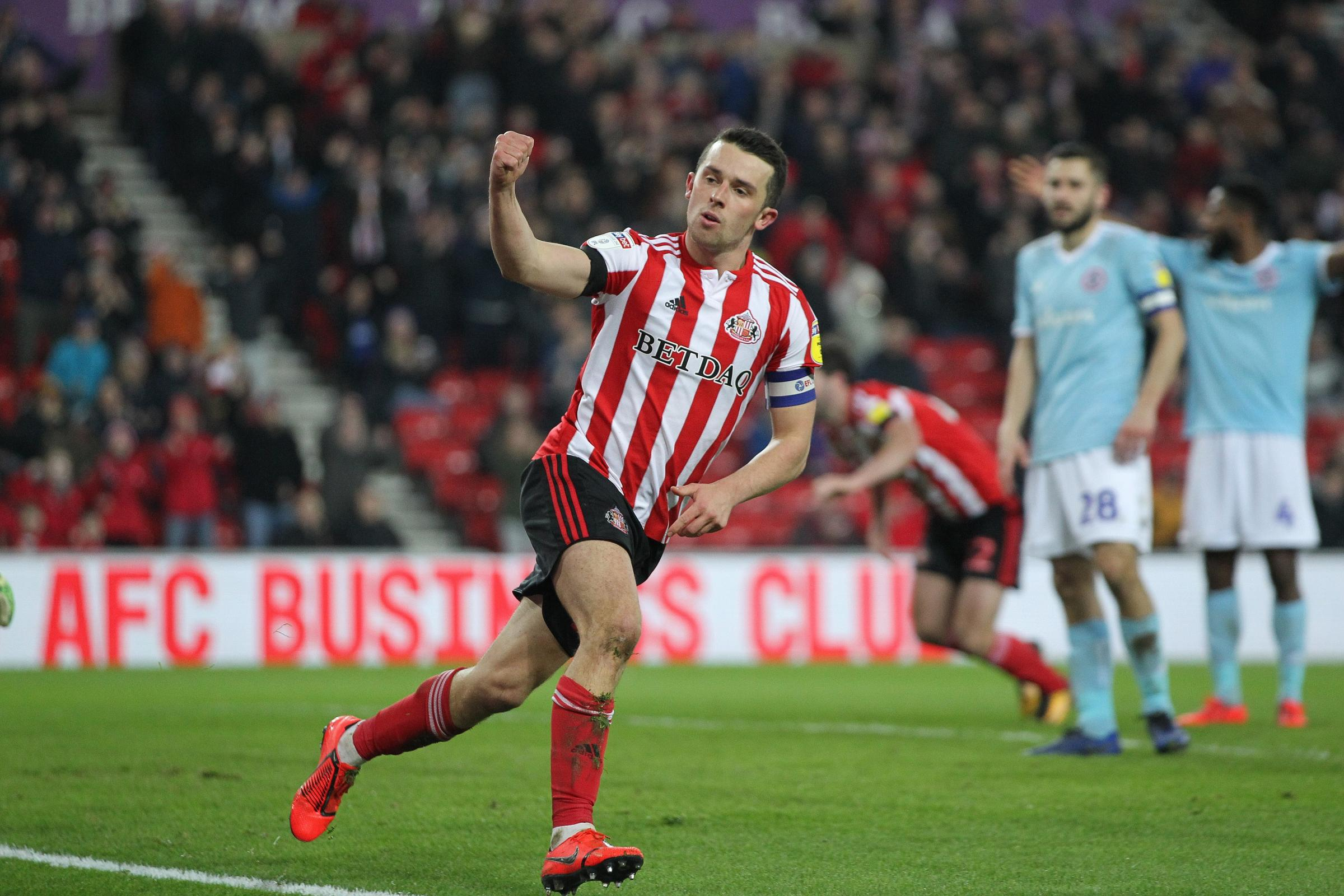 SUNDERLAND, UK. 15TH FEBRUARY George Honeyman of Sunderland celebrates after scoring their first goal  during the Sky Bet League 1 match between Sunderland and Accrington Stanley at the Stadium Of Light, Sunderland on Friday 15th February 2019. (Credit: M