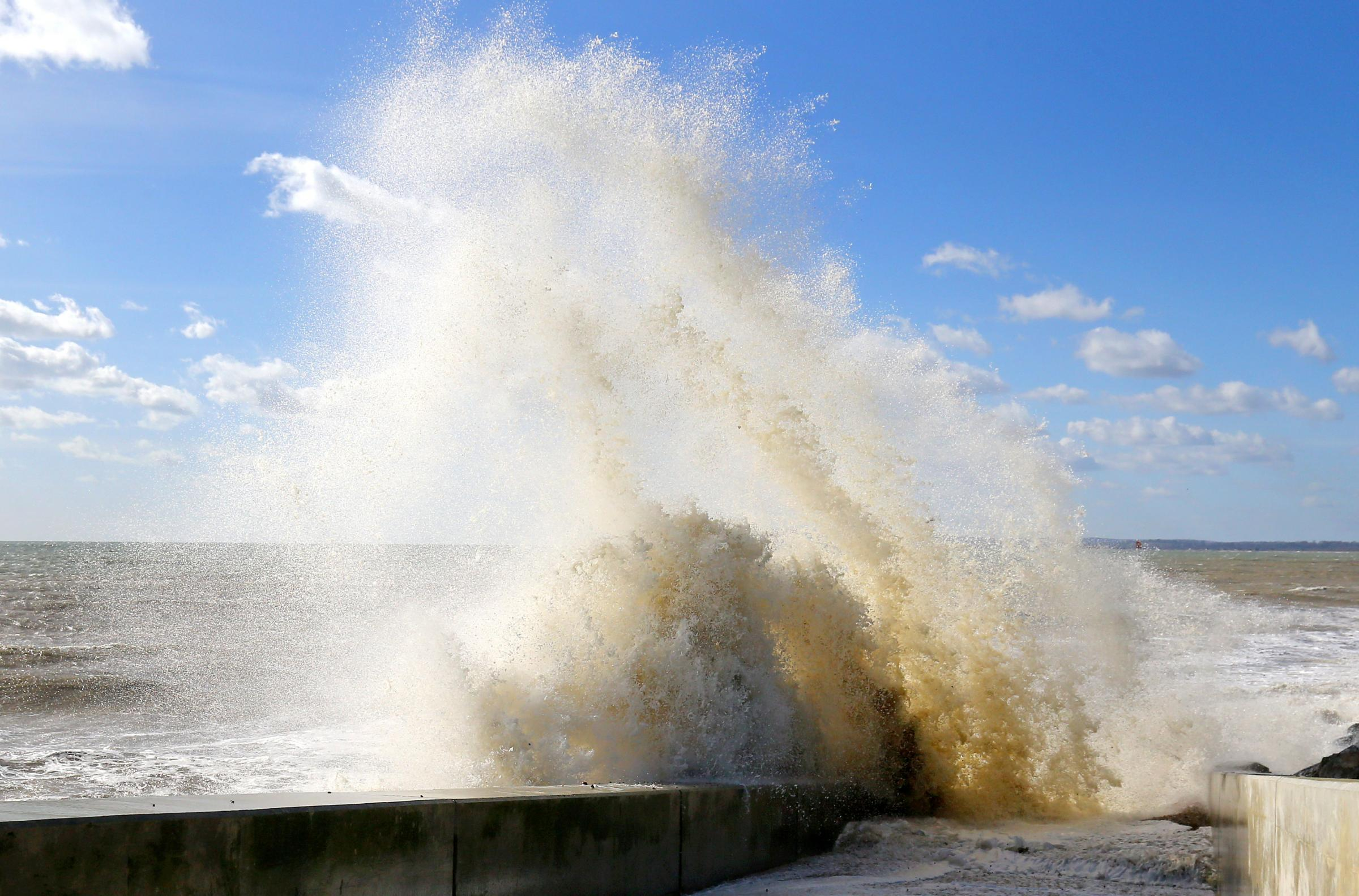 Waves crash against the sea defences in Camber, East Sussex, as the unsettled and windy weather continues across the UK. Picture: PA