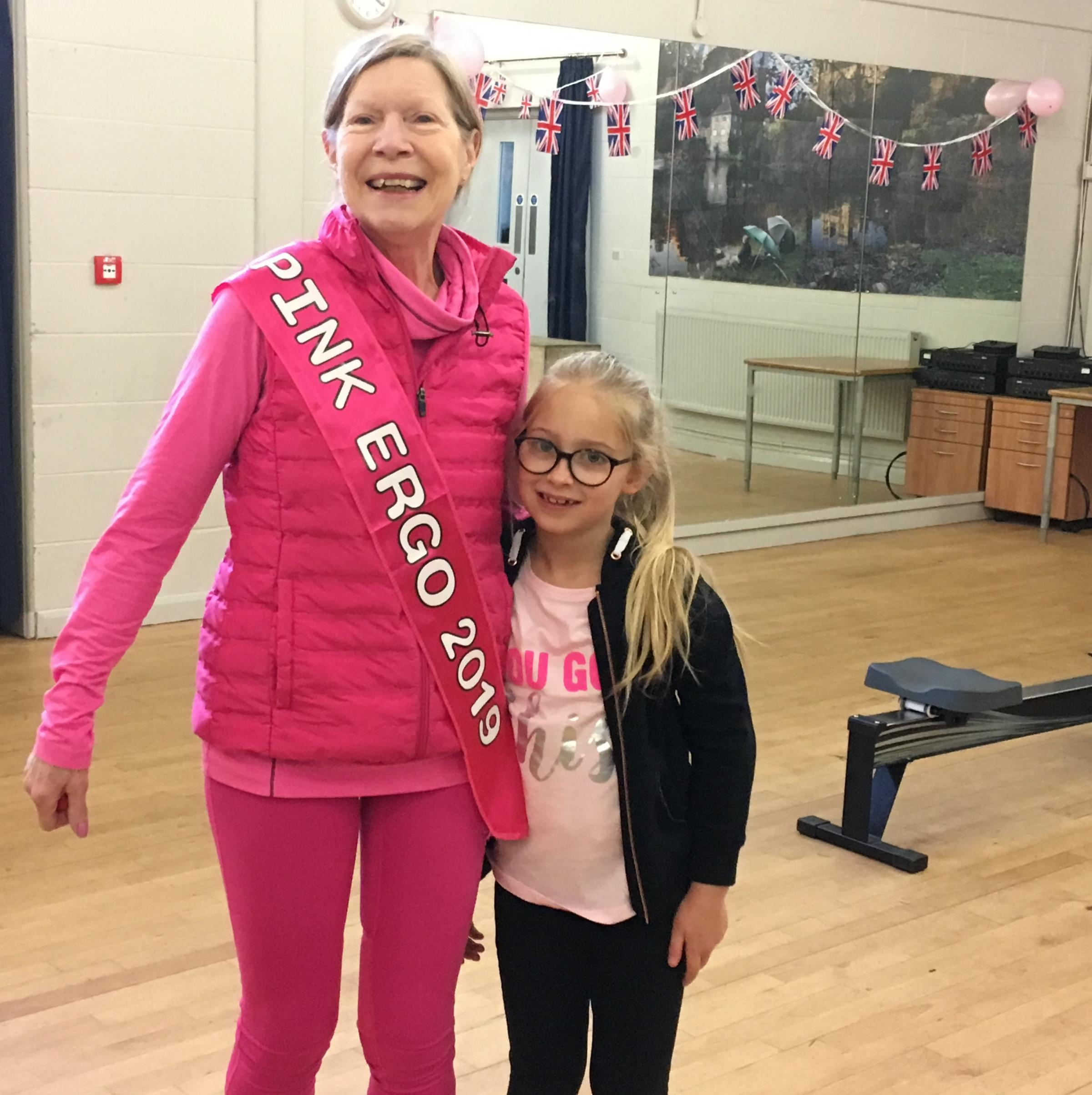 BIG SUPPORT: Hazel Stainforth and her youngest supporter Sophia, who both took part in the 100km rowing challenge to raise money for breast cancer charities