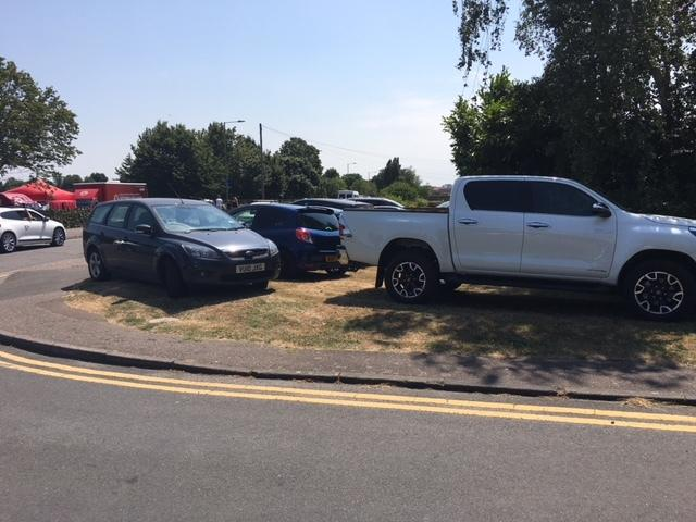 BLOCKAGE: Cars reportedly parked all over the grass verges and pavements