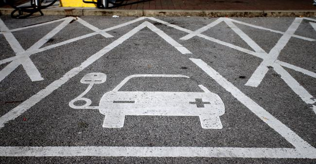 An electric car charging point at Chester Services. Picture: Peter Byrne/PA Wire