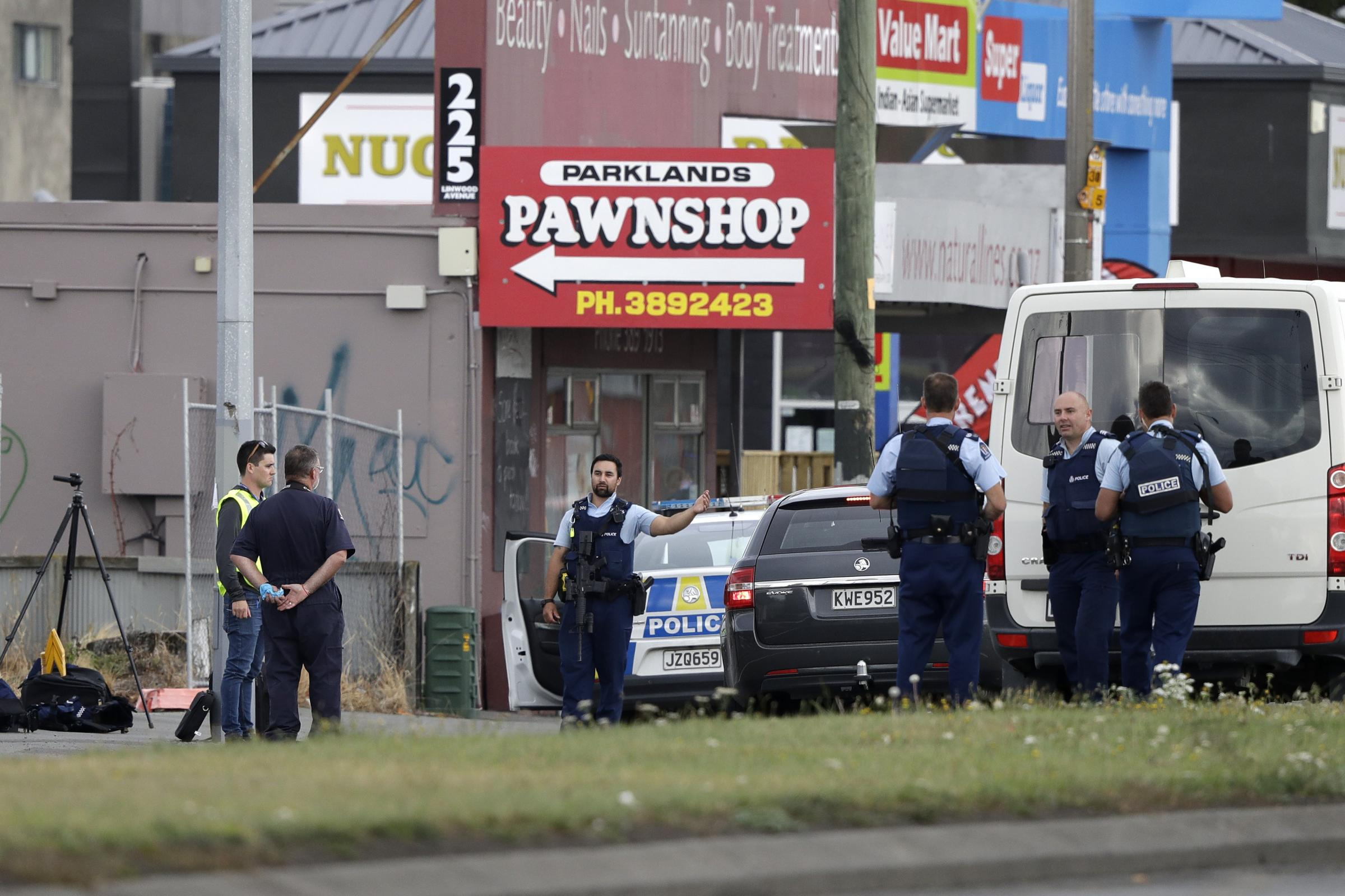 The scene of one of the attacks at a mosque in Linwood, Christchurch
