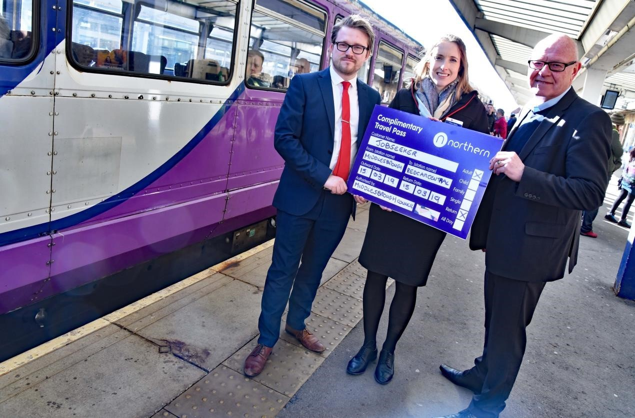 FREE TRAVEL: Councillor Lewis Young, Executive member for Economic Development and Infrastructure, Northern Railway Regional Director Anna Weeks and Councillor Mick Thompson launch the free rail travel for job seekers initiative at Middlesbrough Station
