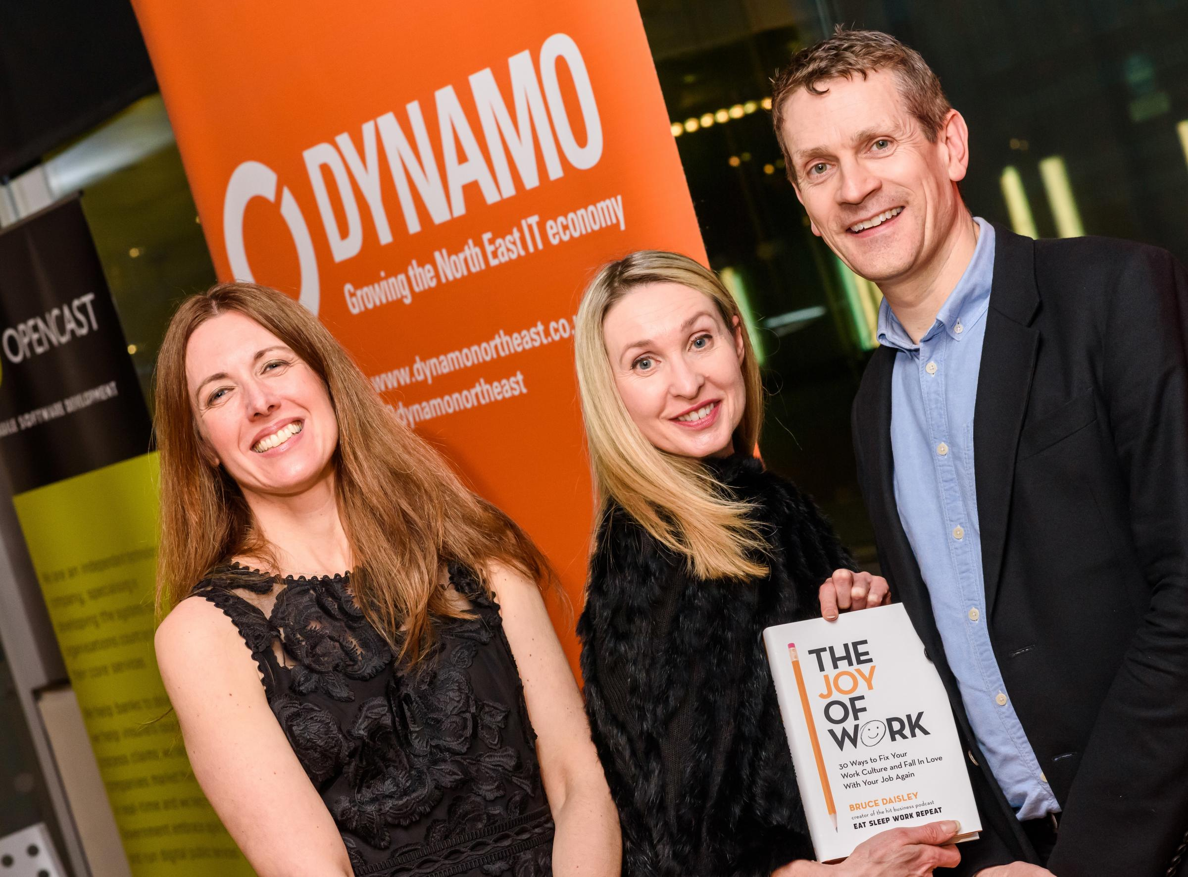 ANNUAL DINNER: From left, Dynamo's Head of Engagement Anne Macdonald, Chair Giselle Stewart and Twitter's Bruce Daisley. Picture: JAY DAWSON/TYNESIGHT PHOTOGRAPHY