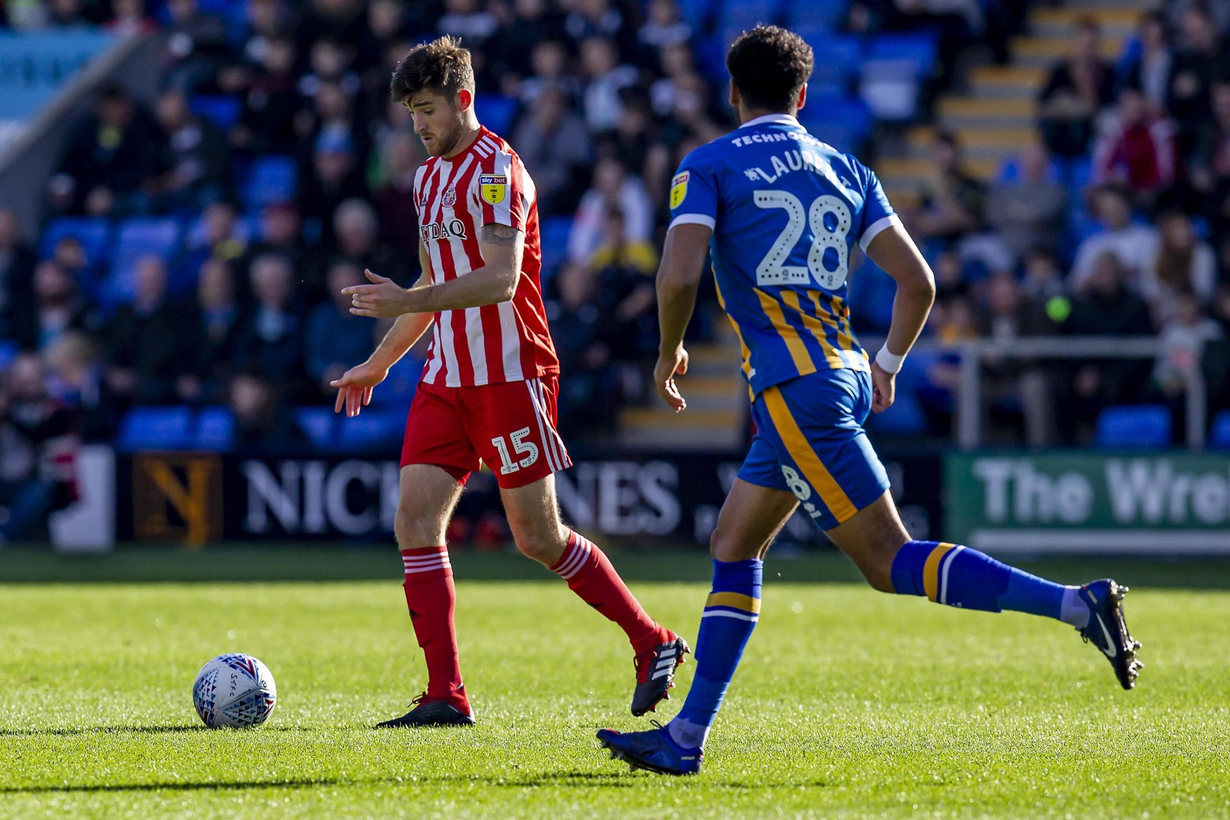 Jack Baldwin of Sunderland AFC on the ball during the Sky Bet League 1 match between Shrewsbury Town and Sunderland at Greenhous Meadow, Shrewsbury on Saturday 20th October 2018. (Credit: Alan Hayward | MI News & Sport Ltd).à 	�©MI