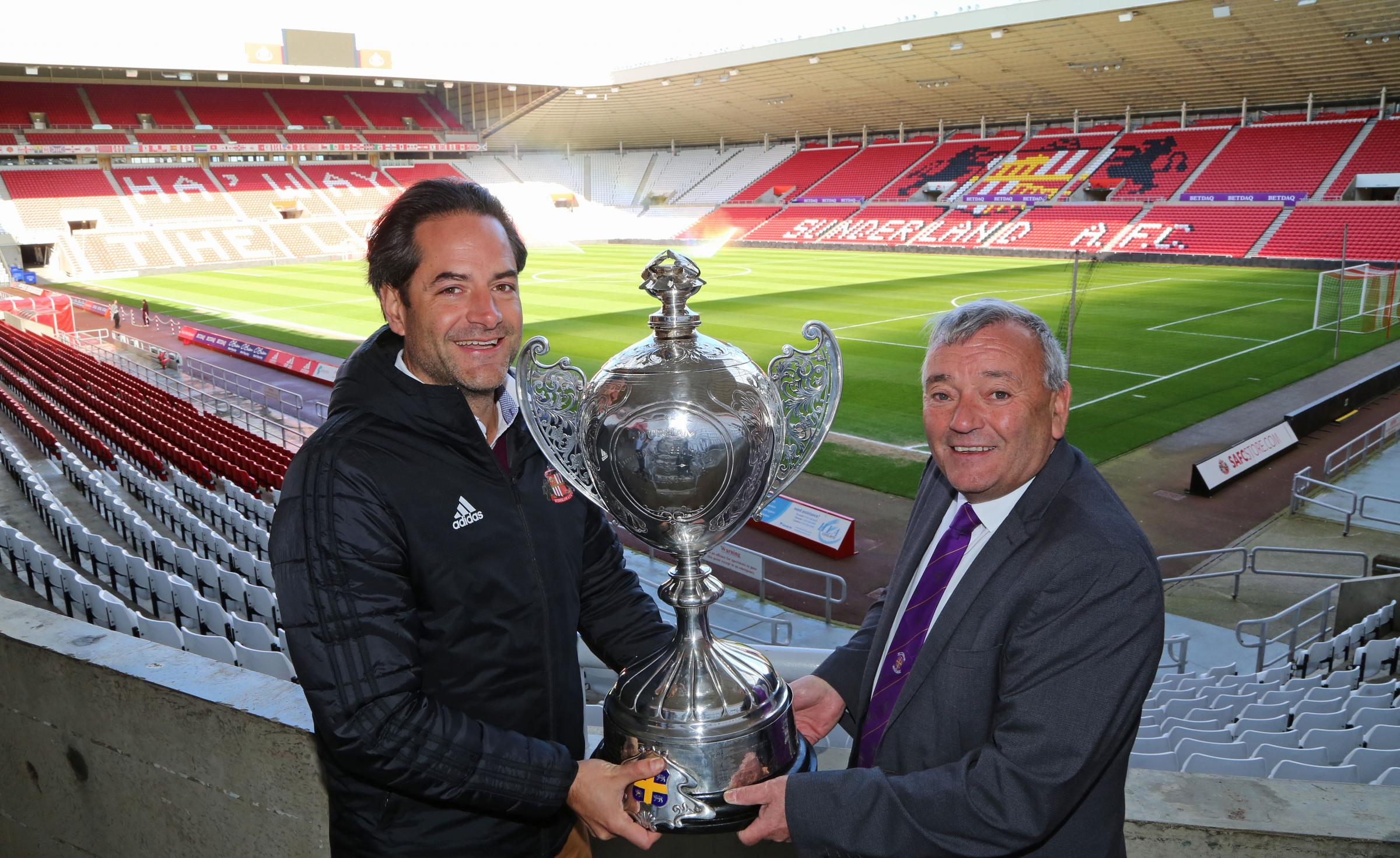 CUP FINAL VENUE: Sunderland chief executive Charlie Methven (left) is pictured with Durham County FA chief executive John Topping (right)
