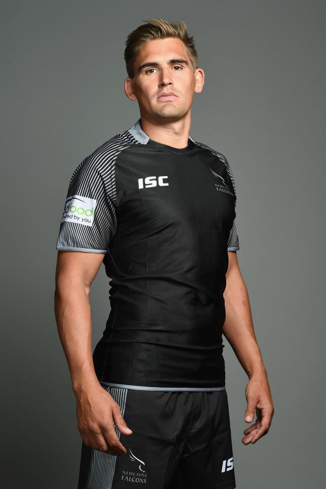 NEWCASTLE UPON TYNE, ENGLAND - AUGUST 17:  Toby Flood of the Newcastle Falcons poses for a portrait during the Newcastle Falcons photocall at Kingston Park on August 17, 2017 in Newcastle upon Tyne, England.  (Photo by Laurence Griffiths/Getty Images).