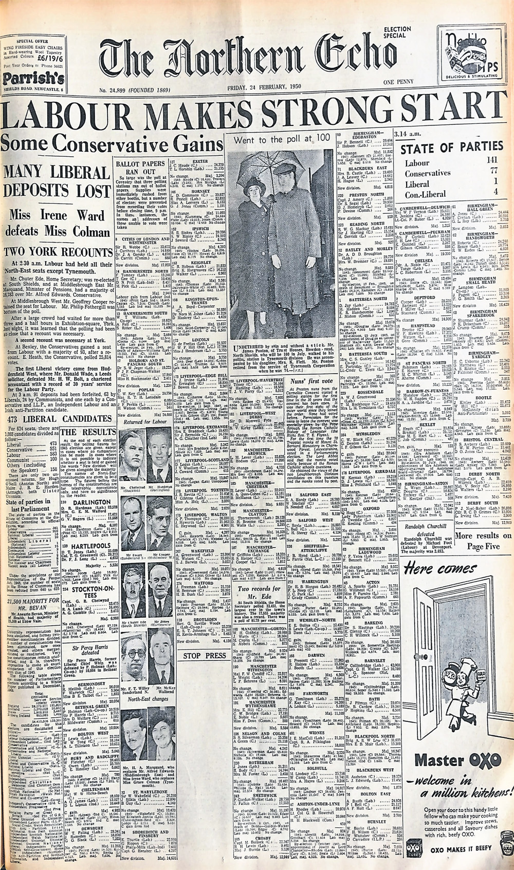 The Northern Echo's front page as the results of the 1950 General Election were coming in.