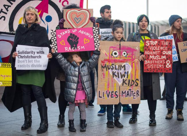 Protestors take part in a demonstration outside the offices of News UK, in central London, in solidarity with Muslim communities around the world, following the attack on mosques in Christchurch, New Zealand. Picture: PA Wire
