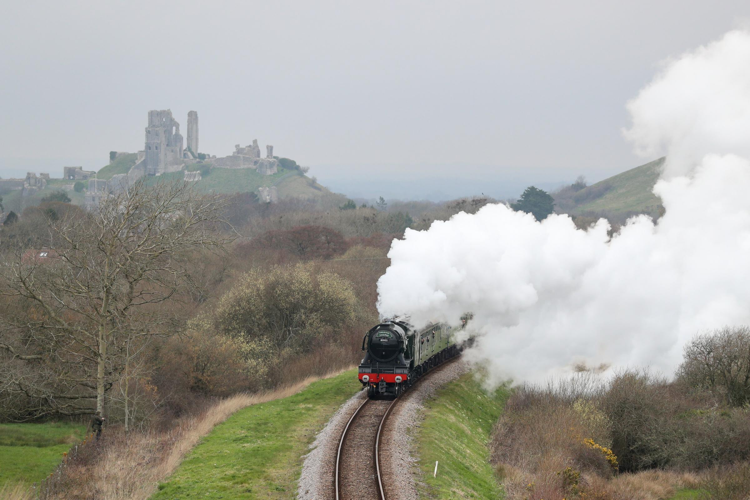 The Flying Scotsman during a visit to the Swanage Railway in Dorset