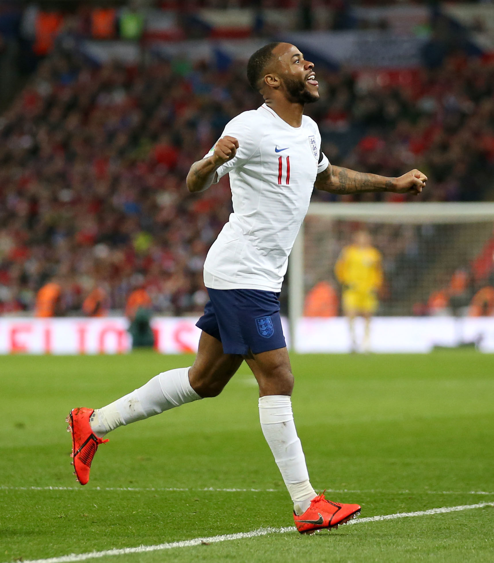 STAR MAN: Raheem Sterling celebrates during England's 5-0 win over the Czech Republic on Friday (Picture: Steven Paston/PA Wire)