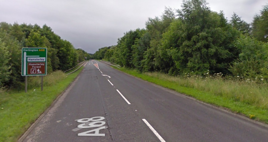 ONGOING INCIDENT: An incident is said to be ongoing on the A68 near Hamsterley Picture: GOOGLE