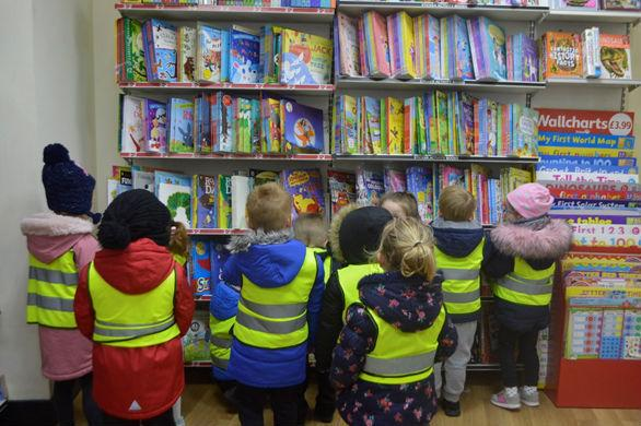 Children from Aclet Close Nursery School in WH Smith
