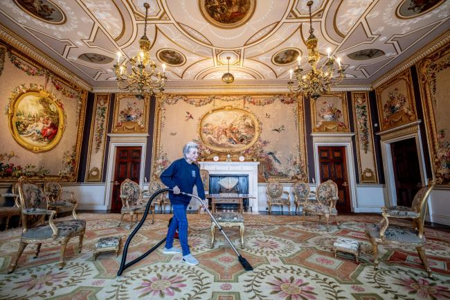 SPRING CLEAN: Cleaning in the Tapestry Room at Newby Hall. iN what had been the entrance hall of the original house, Robert Adam created a drawing room specifically for a set of tapestries which he ordered in Paris in 1763 						 Picture: CHARLOTTE GRAHAM