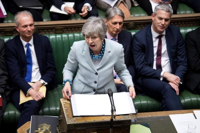 Prime Minister Theresa May as she makes a statement on Brexit to the House of Commons, London. Picture:  UK Parliament/Jessica Taylor/PA Wire