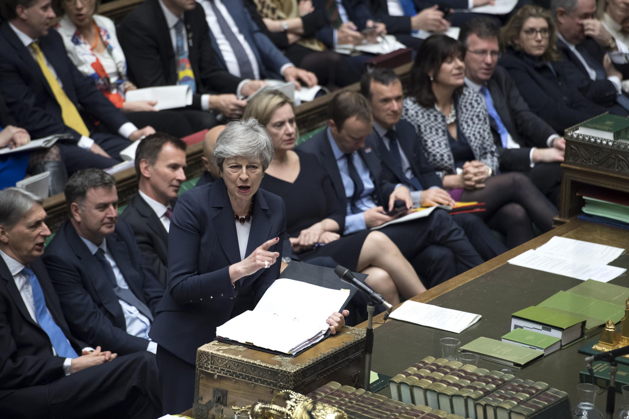 Prime Minister Theresa May during Prime Minister's Questions in the House of Commons, London. Picture: UK Parliament/Jessica Taylor /PA Wire