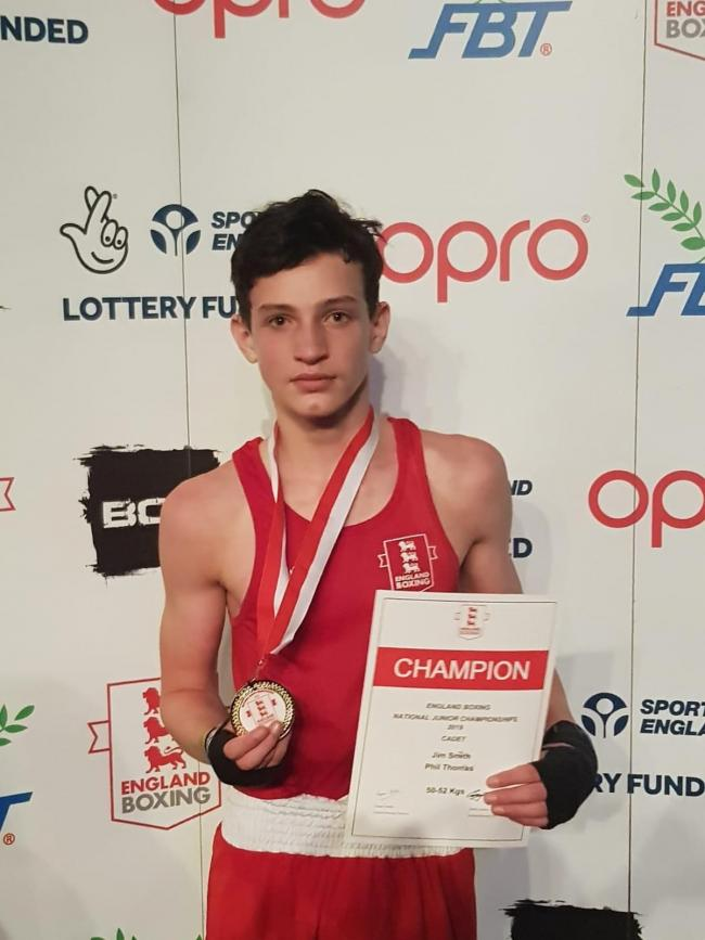 BOXING CHAMP: Jim Smith with his medal after winning an ABA title in Rotherham