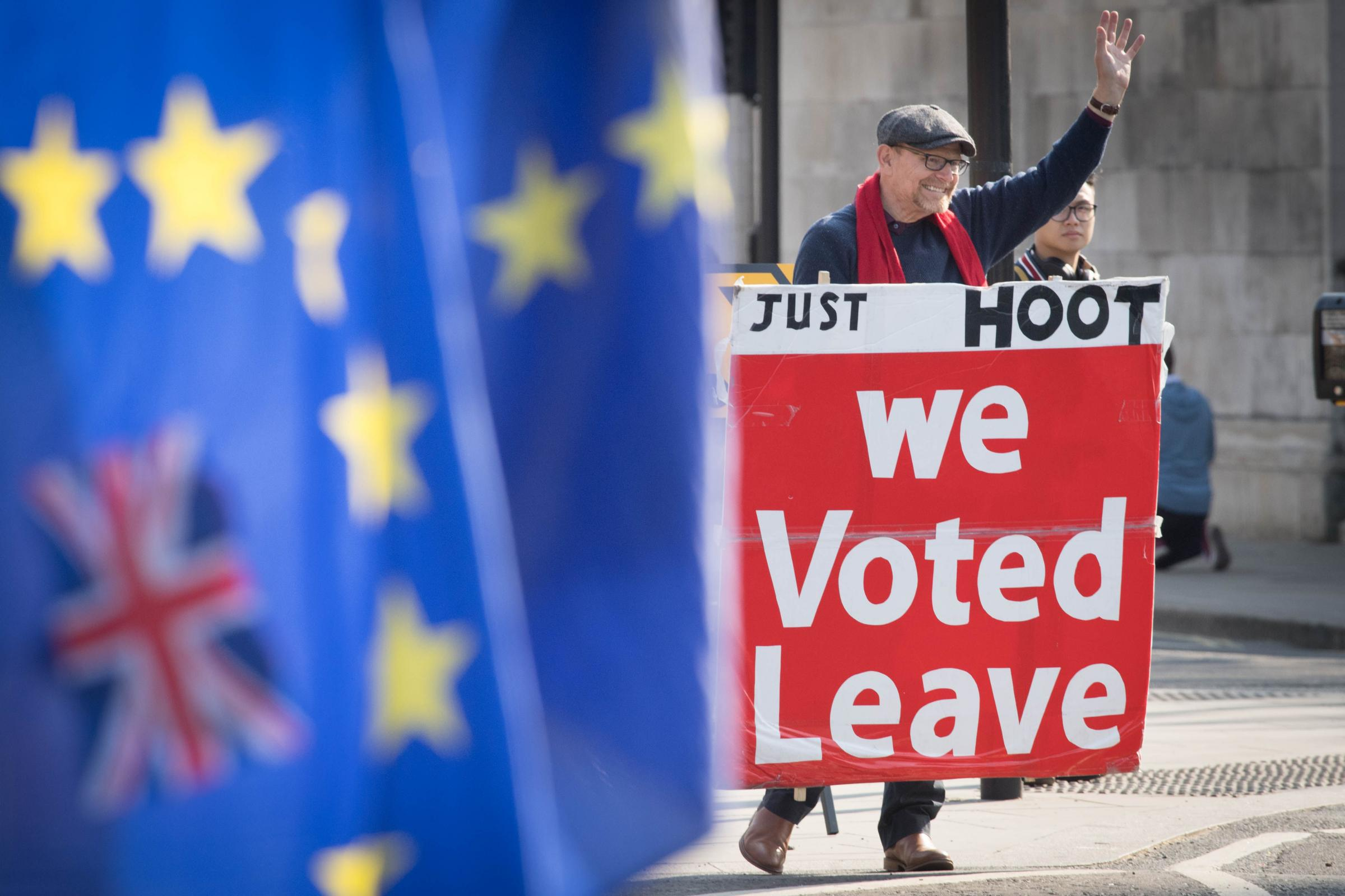 Leave and remain protesters outside the Houses of Parliament, London, ahead of the latest round of debates in the House of Commons concerning Brexit issues.  Picture: Stefan Rousseau/PA Wire
