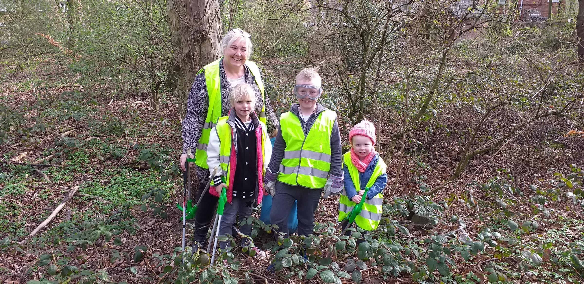 COMMUNITY ACTION: Members of Tanfield Lea Countryside Group have collected 63 bags of rubbish with a litter pick. Picture shows Gillian Armstrong, with Ryley and Hannah Armstrong, and Poppy Errington.