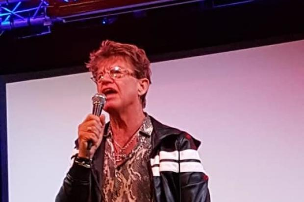 ON STAGE: Robin Askwith holding court at the Forum Music Centre in Darlington. Picture: SCOTT WETHERILL