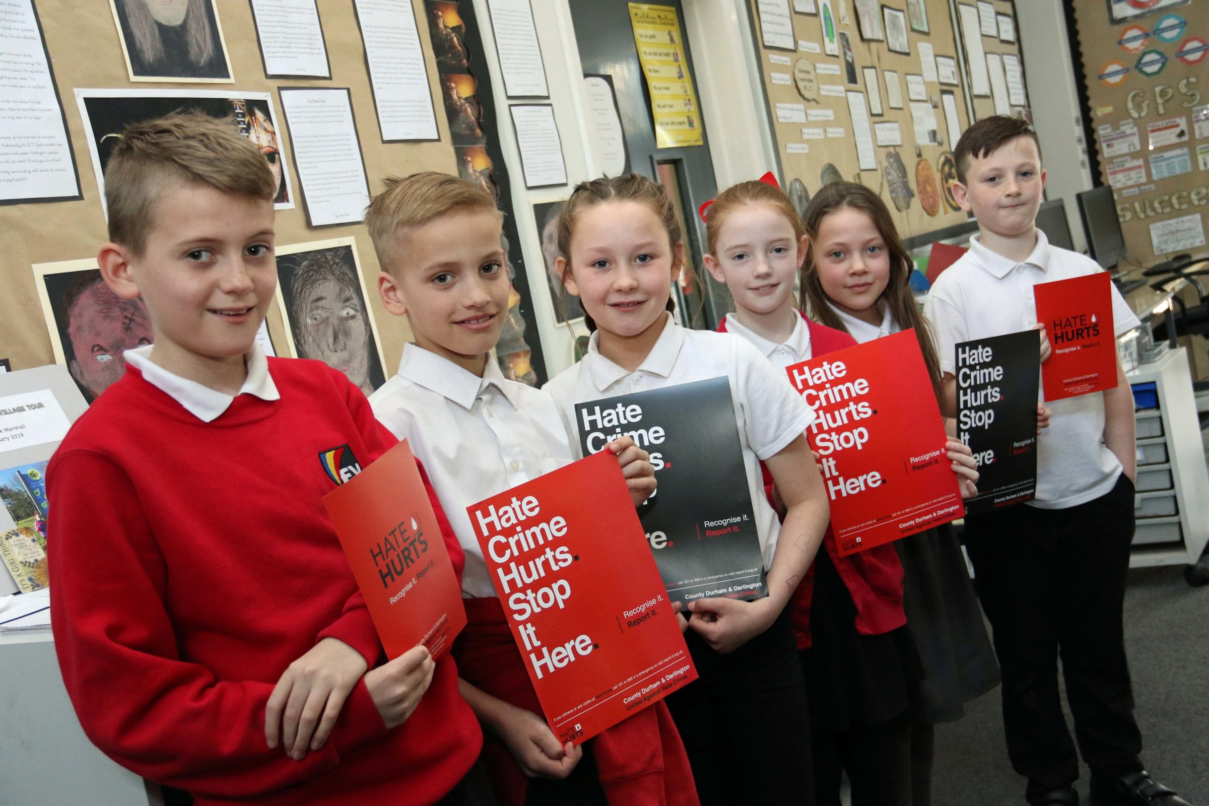 HEALING THE HURT: Pupils from Springfield Academy, part of the Education Village, Darlington, who have joined the growing voice against hate crime committed in the region