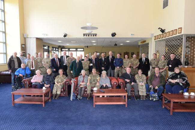 SPECIAL VISIT: Veterans and soldiers in the Sergeant's Mess, Catterick Garrison