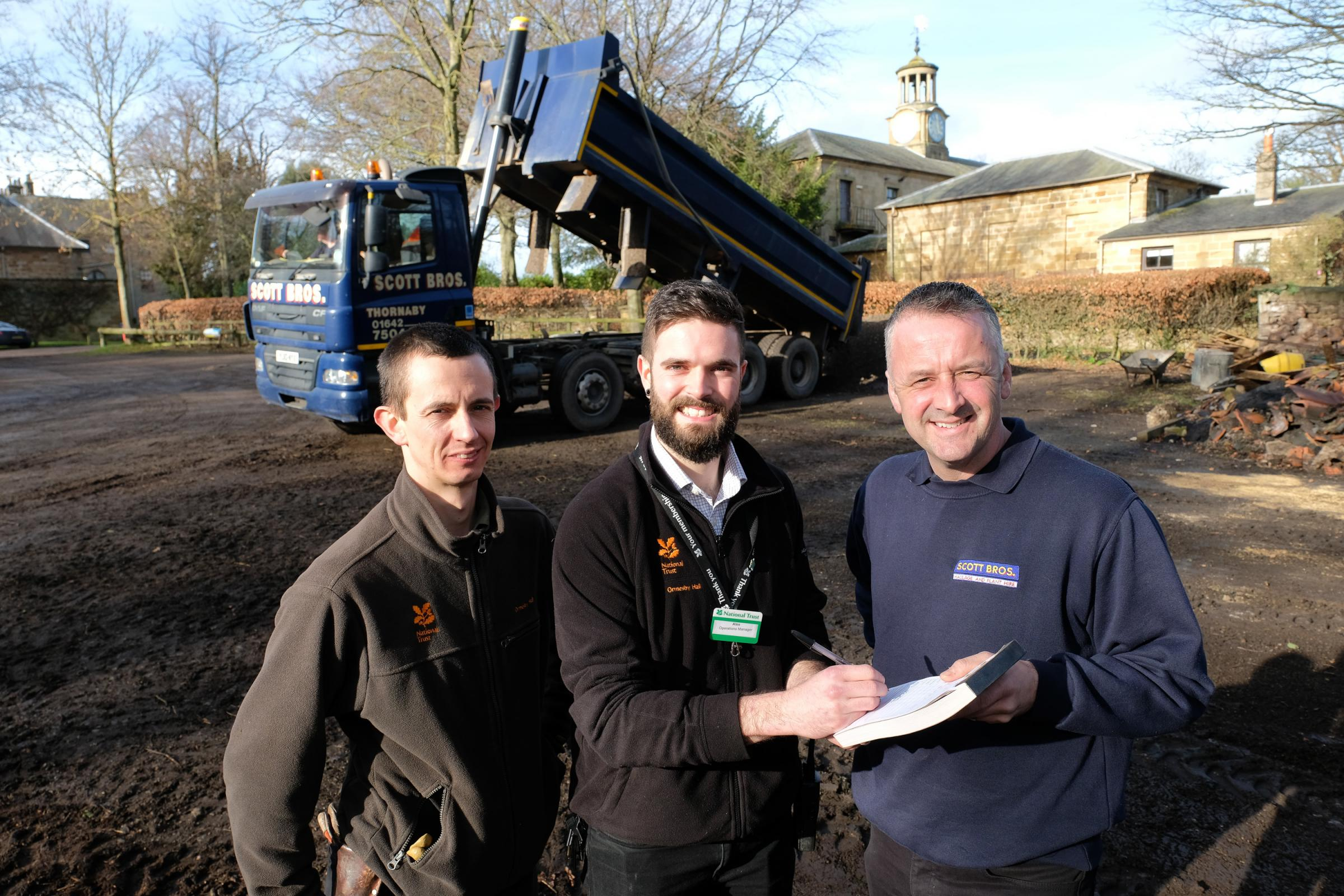 HALL REVAMP: David Husband, head gardener; Alex Hennessey, operations manager at Ormesby Hall and Peter Scott of Scott Bros