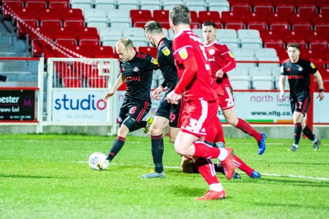 Sunderland's Dylan McGeouch with the ball as Sunderland attack during the Sky Bet League 1 match between Accrington Stanley and Sunderland at the Fraser Eagle Stadium, Accrington on Wednesday 3rd April 2019. (Credit: Ian Charles | MI News & Sport