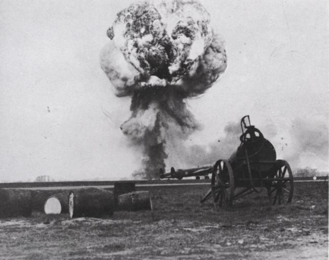 BIG BANG: The 4,000lb bomb goes off at 11.35am on March 22, 1945, at Croft aerodrome