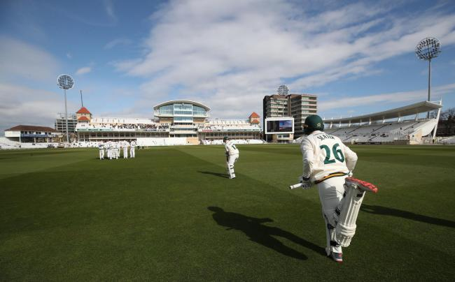 Nottinghamshire batsman Ben Slater and Ben Duckett enter the field on opening day of the county season during day one of Specsavers County Championship Division One match at Trent Bridge, Nottingham. PRESS ASSOCIATION Photo. Picture date: Friday April 5,