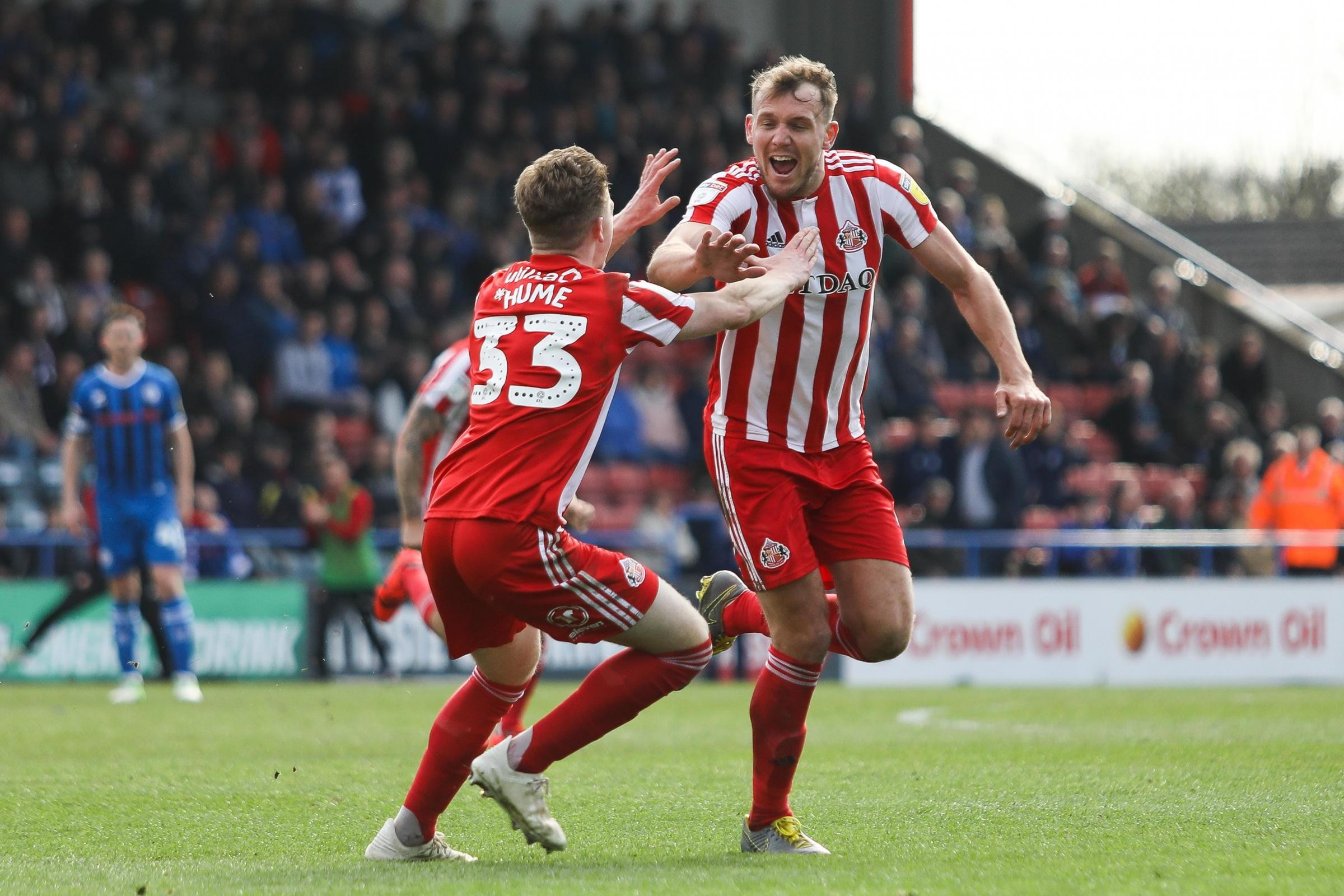 Charlie Wyke of Sunderland celebrates after scoring. Picture: MI News and Sport