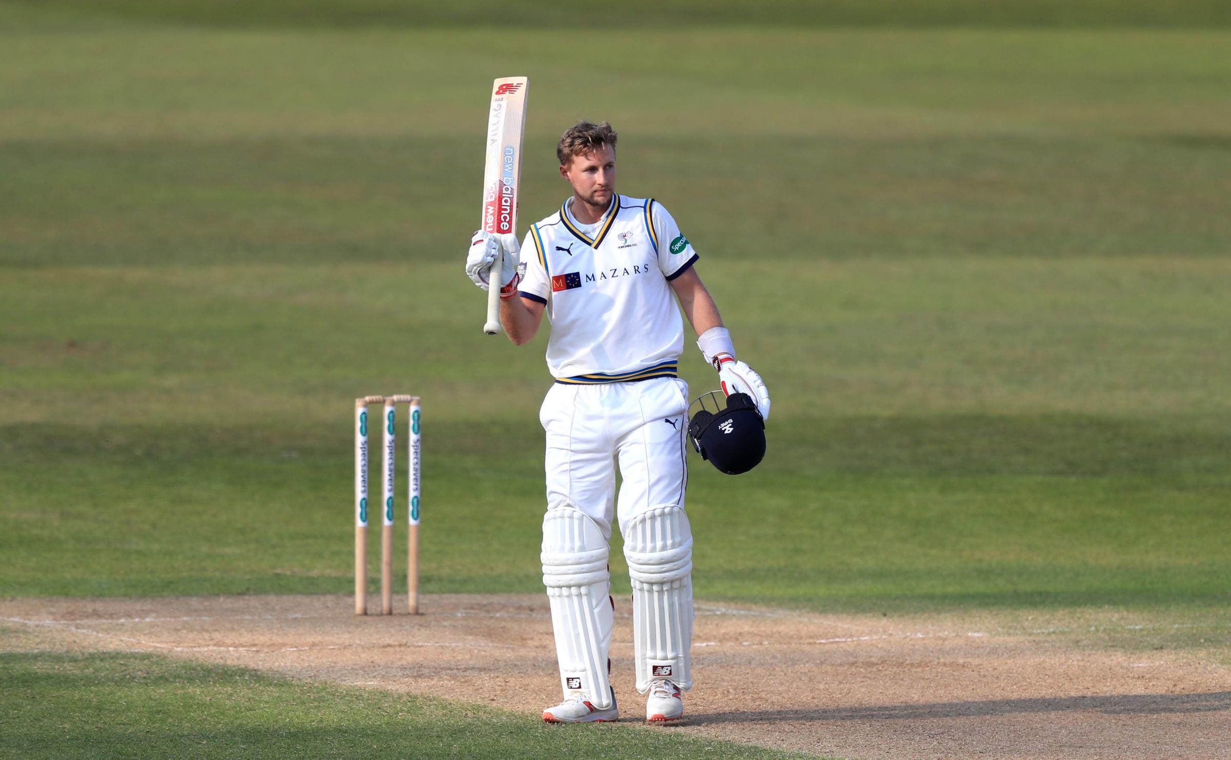 Yorkshire's Joe Root celebrates reaching his century during day four of Specsavers County Championship Division One match at Trent Bridge, Nottingham. PRESS ASSOCIATION Photo. Picture date: Monday April 8, 2019. See PA story CRICKET Nottinghamshire. P