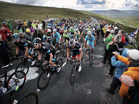 LE TOUR: Last years winner Chris Froome and his Sky teammates at the top of Buttertubs Pass in the Yorkshire Dales. Picture: STUART BOULTON..