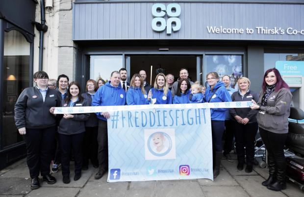 The Northern Echo: RIBBON CUTTING: Freddie's Fight and Co-op staff reopened the store in Thirsk Picture: Stu Boulton