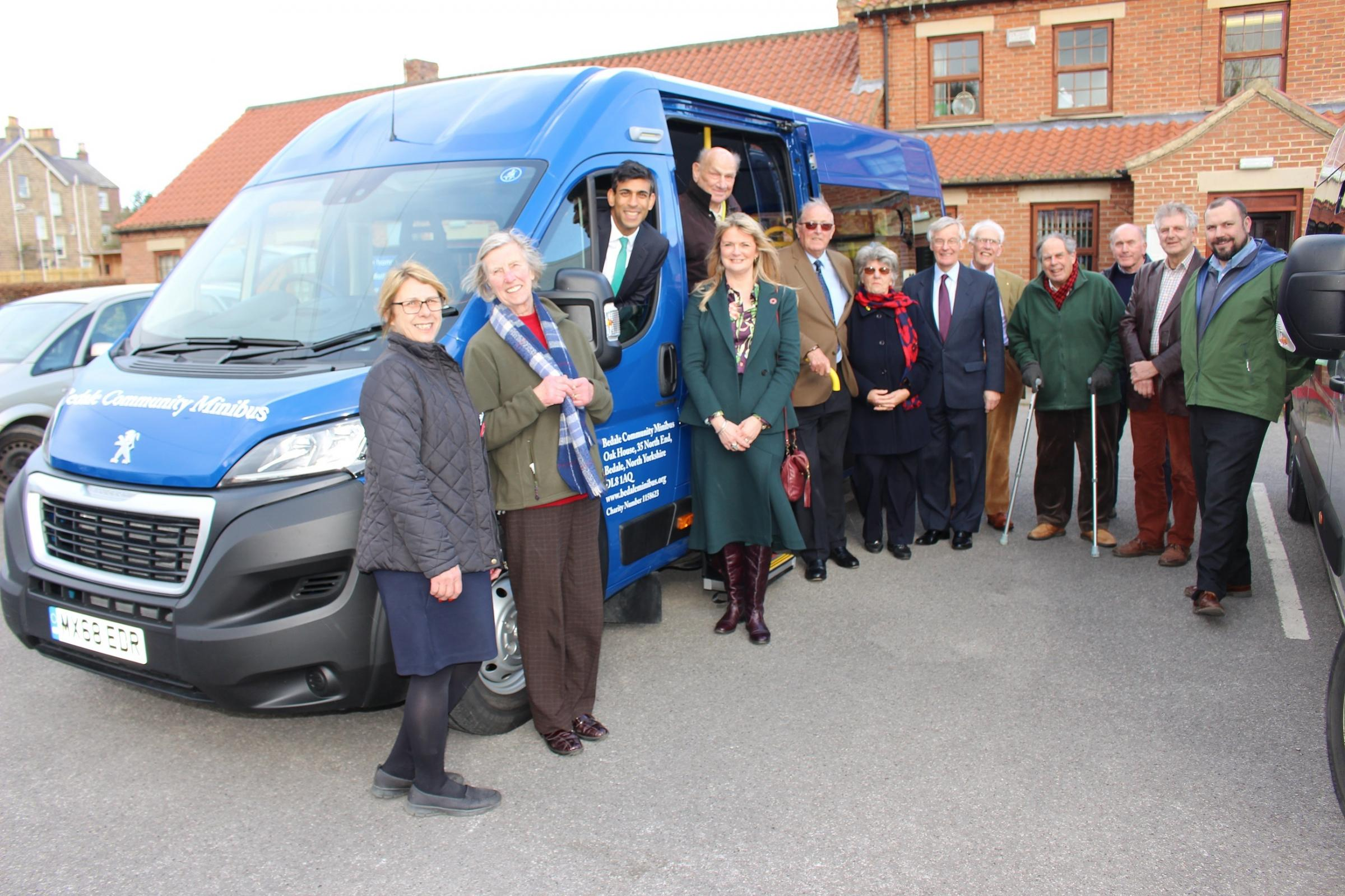 COMMUNITY BUS: Rishi Sunak and volunteers launch the new Bedale Community minibus at the Dales Centre, Bedale
