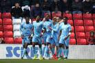 WINNING FEELING: Coventry's players celebrate during their 5-4 victory at the Stadium of Light (Picture: Mark Fletcher/MI News & Sport)