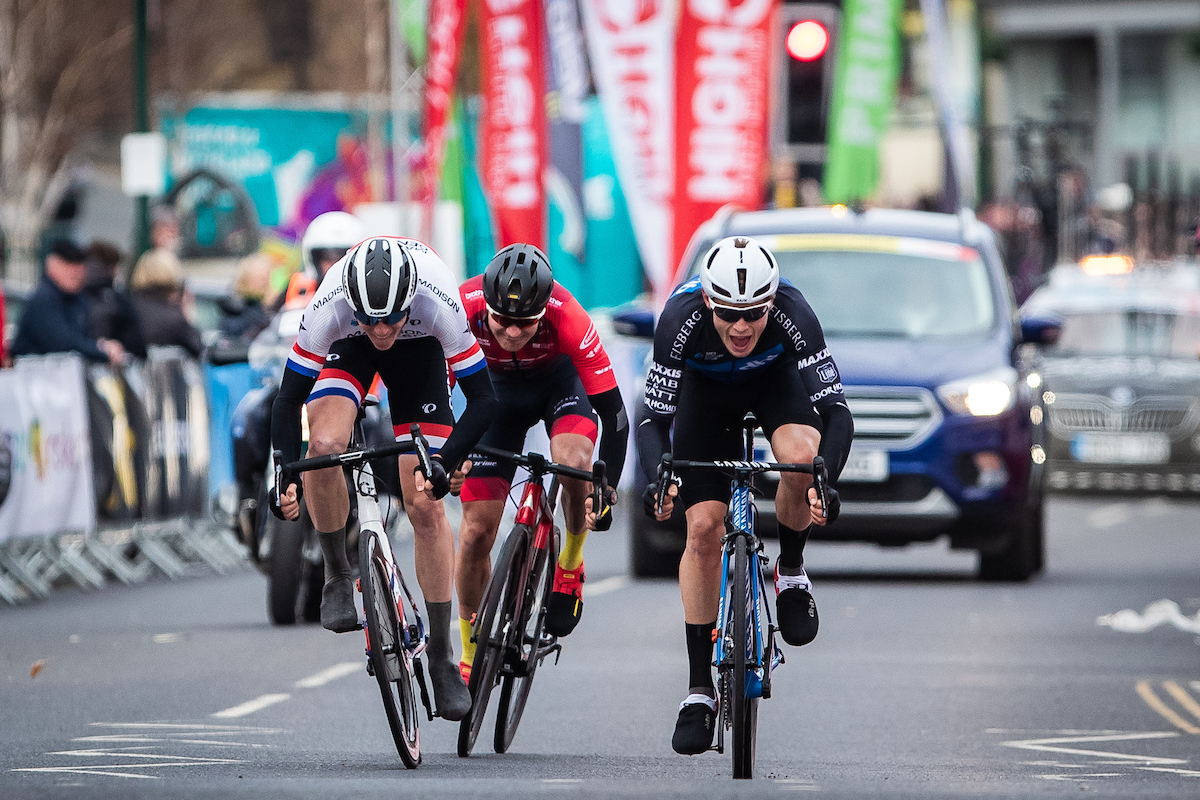 Picture by Alex Whitehead/SWpix.com - 14/04/2019 - British Cycling - HSBC UK Men's National Road Series - East Cleveland Klondike GP - Rory Townsend of Canyon DHB p/b Bloor Homes beats Scott Thwaites and Connor Swift in a sprint.