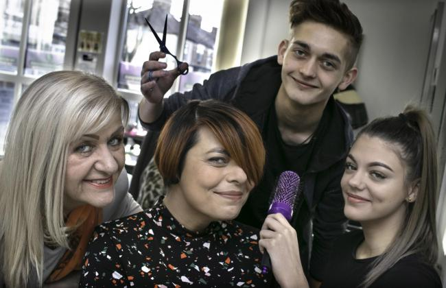 From left, owner of The Bespoke Experience Yvonne Couhig, employer engagement officer at Beyond Housing Johanna Watts, and apprentice stylists Jordan Thompson and Cerise Kalia