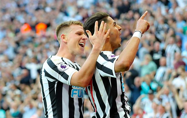 Matt Ritchie and Ayoze Perez celebrate a Newcastle United goal
