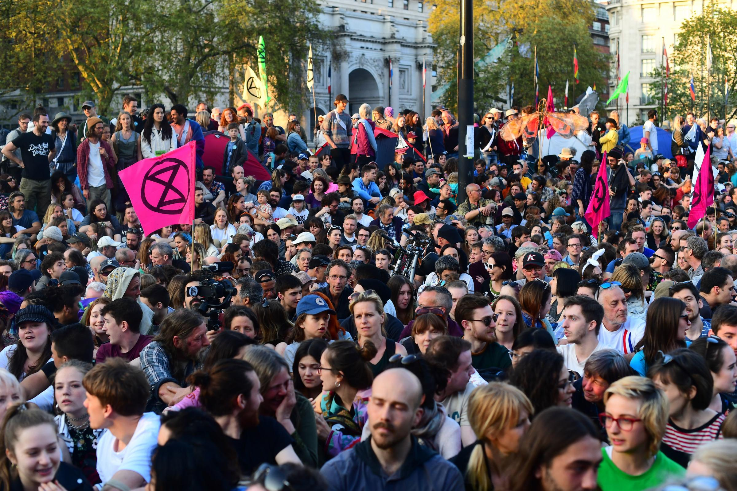 Extinction Rebellion demonstrators gather at Marble Arch in London. Picture: Victoria Jones/PA Wire