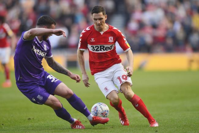 Stewart Downing on the attack for Boro during the Sky Bet Championship match between Middlesbrough and Stoke City at the Riverside Stadium, Middlesbrough on Friday 19th April 2019. (Credit: Tom Collins | MI News & Sport Ltd).©MI News &
