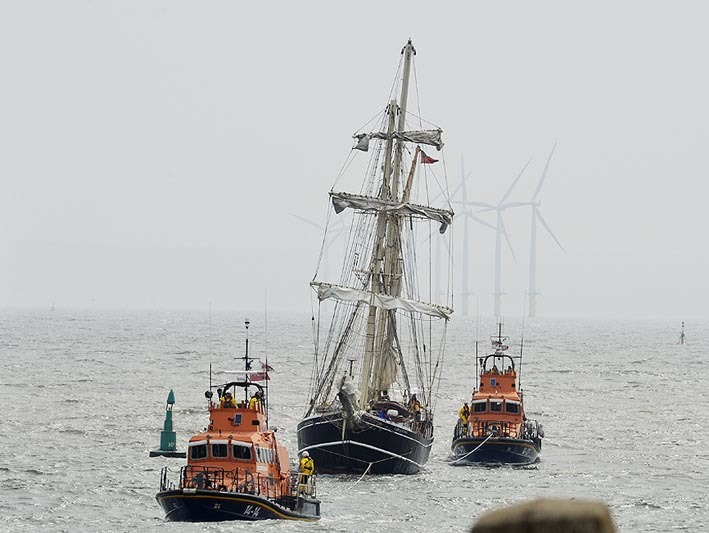 RESCUE MISSION: Hartlepool and Whitby RNLI lifeboats assist sail training vessel																												            Picture: RNLI/TOM COLLINS