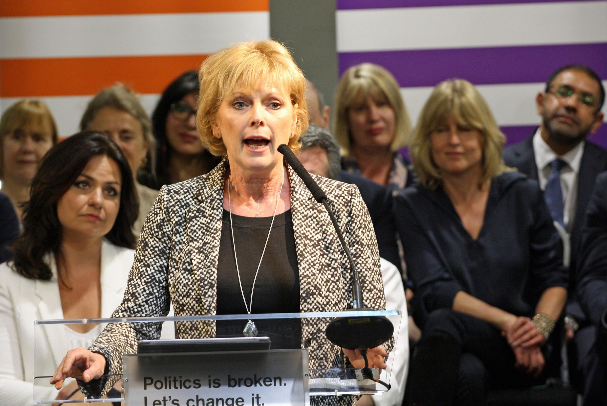 Anna Soubry addressing supporters during the launch of the Change UK European election campaign in Bristol. PRESS ASSOCIATION Photo. Picture date: Tuesday April 23, 2019. See PA story POLITICS Brexit ChangeUK. Photo credit should read: Rod Minchin/PA Wir