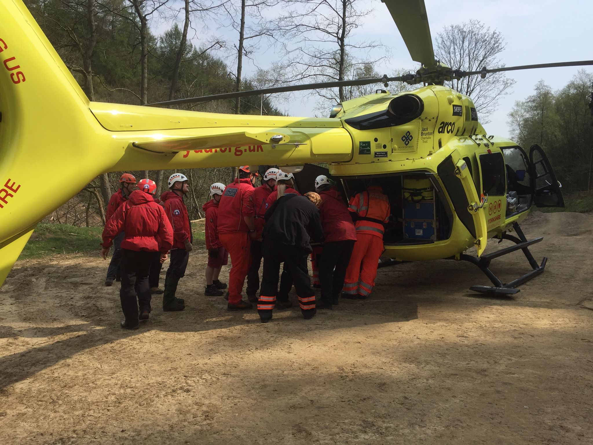 A lumberjack has been airlifted to hospital via the Yorkshire Air Ambulance with support from mountain rescue teams. Picture: CLEVELAND MOUNTAIN RESCUE TEAM