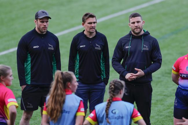 Will Welch, Toby Flood and Mark Wilson at the Train With Your Heroes event