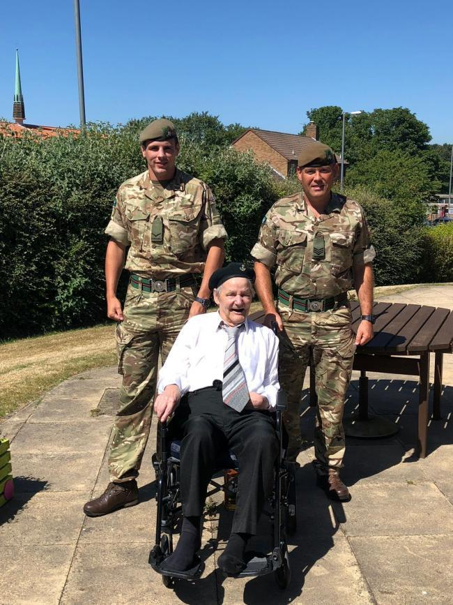 MILITARY PAST: Sergeant Stephen Row and Lance Corporal Christopher O'Callaghan of the Yorkshire Regiment visited Bill Lyons on Armed Forces Day last year.
