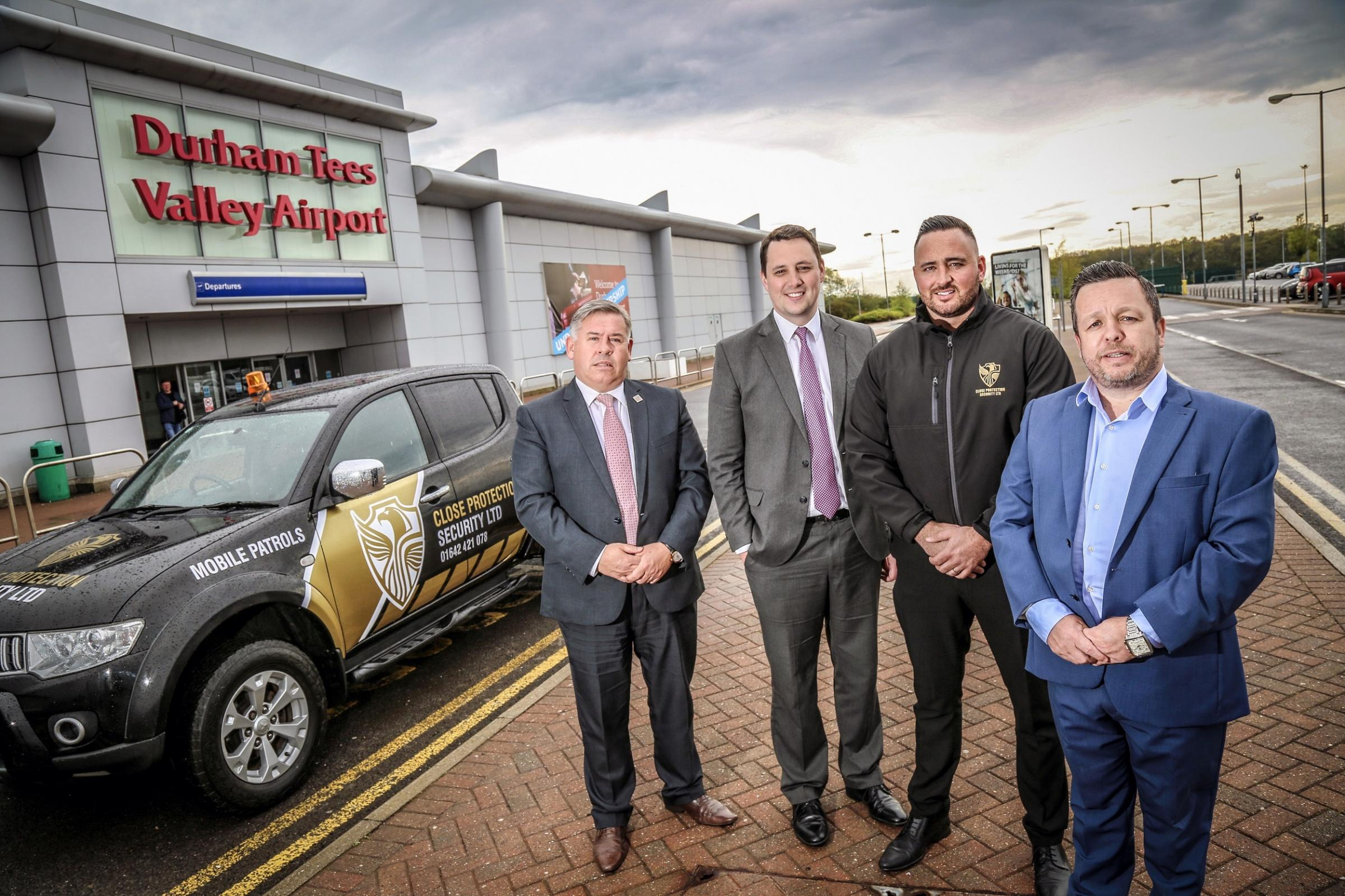 AIRPORT DEAL: Shaun Woods, airport manager, Tees Valley Mayor Ben Houchen and Chris Petty and Glenn Bartlett, Directors of Close Protection Security