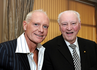 Sir Bobby with Paul Gascoigne, who will play in the chairty match