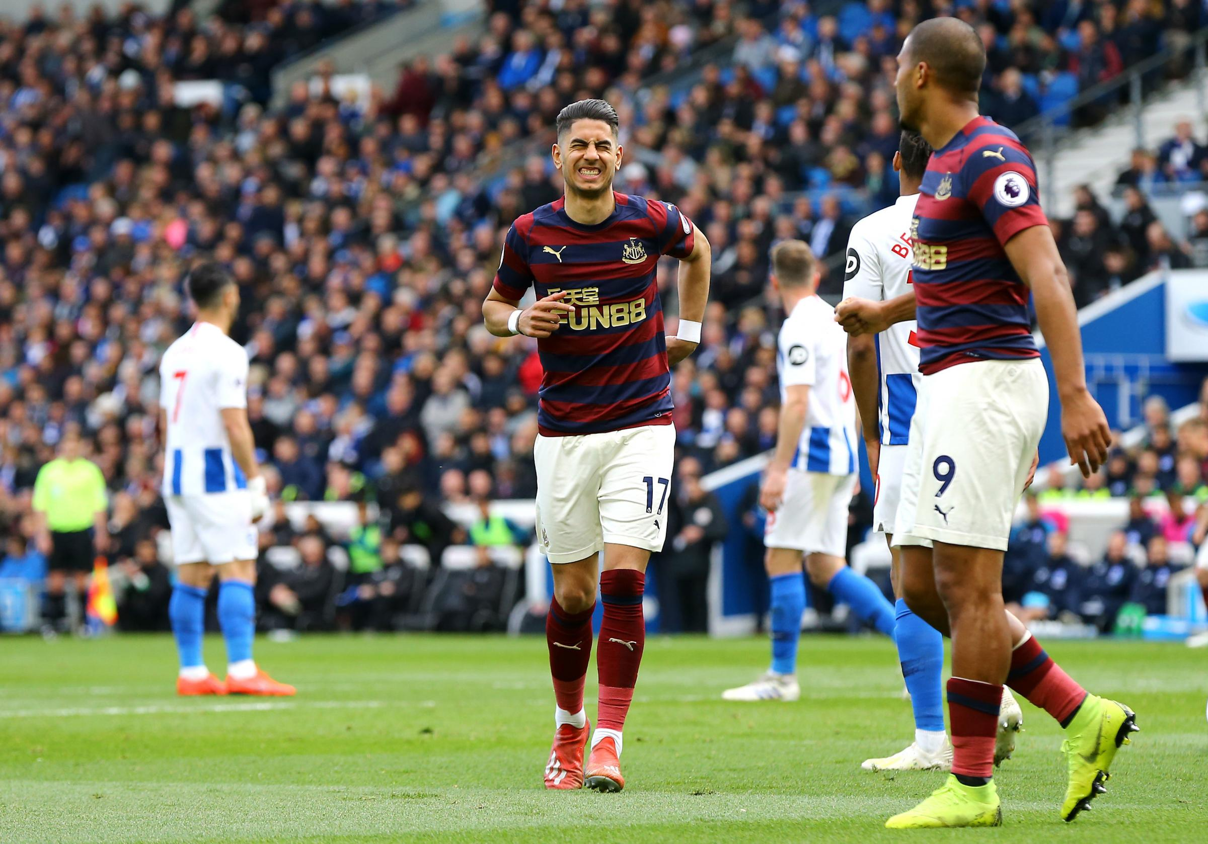 Newcastle United's Ayoze Perez celebrates scoring his side's first goal of the game with team-mates during the Premier League match at the AMEX Stadium, Brighton. PRESS ASSOCIATION Photo. Picture date: Saturday April 27, 2019. See PA story SOCCER
