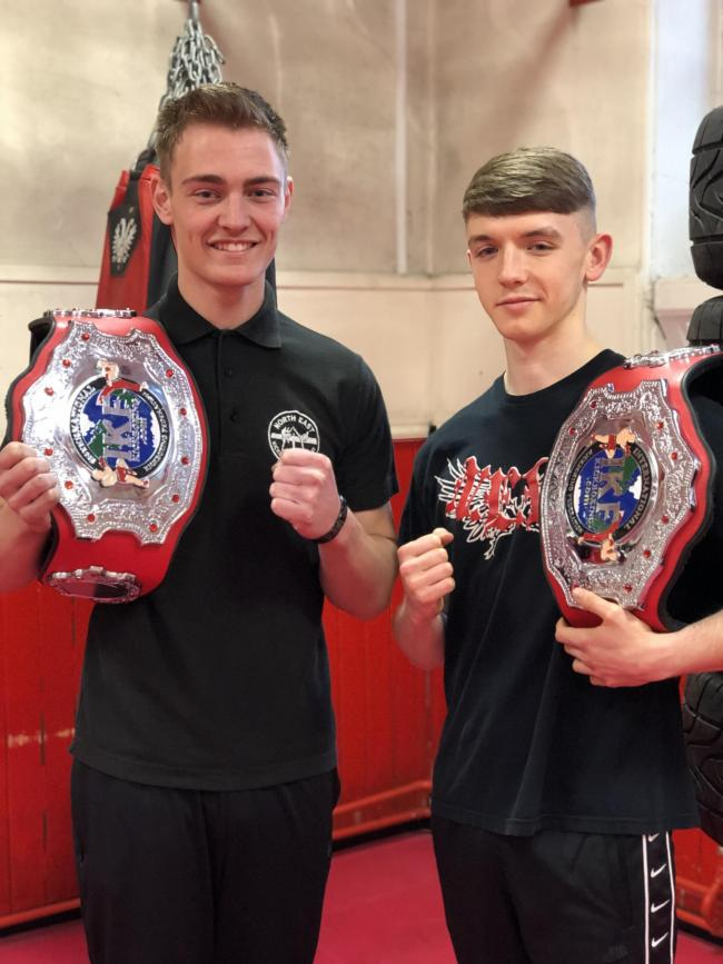 WINNING FIGHTERS: Josiah Clark, 21, from Shield Row, near Stanley, and 17-year-old Will Sheen train with the North-East Kickboxing Academy in Burnopfield. They are both now Northern Area Champions.